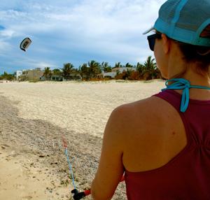 Beach-bound, practicing on a training kite